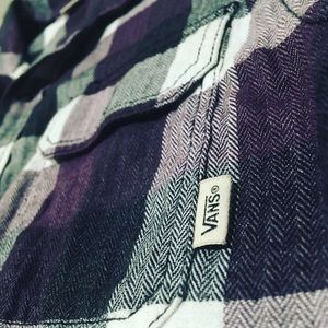 Vans Men's Flannel Plaid Shirt Purple & White